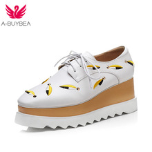 A-BUYBEA Size 34-43 New Fashion Platform Heels Women Shoes Silk Embroidery Lace-Up Square Toe Casual Oxfords