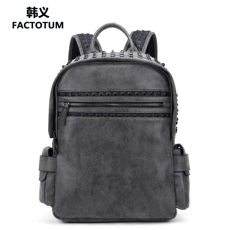 2017 Korean and Japan Style Men Backpack Fashion Rivet Backpack Male PU Leather Locomotive Rucksacks School Students Bags