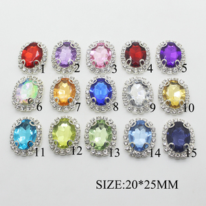 YWXINXI New Alloy Jewelry Accessories 10 pieces / batch 20 * 25mm Wedding Decoration Flat Back Acrylic Rhinestone Buttons(China)