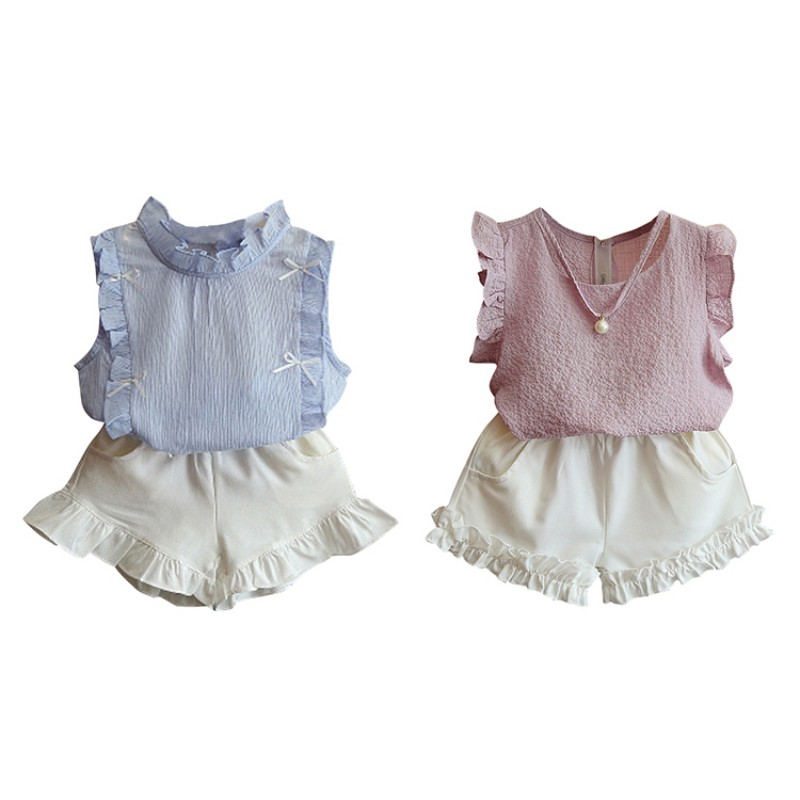2PCS Summer Hot Sale Baby Girls Casual Clothes Set Infant Kids Sleeveless Top+Shorts Two-piece Children Fashion Suits