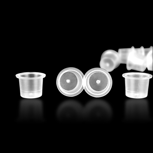 50pcs Tattoo Accessory S/M/L Plastic Disposable Tattoo Ink Cups Microblading Permanent Makeup Pigment Clear Holder Container Cap 2
