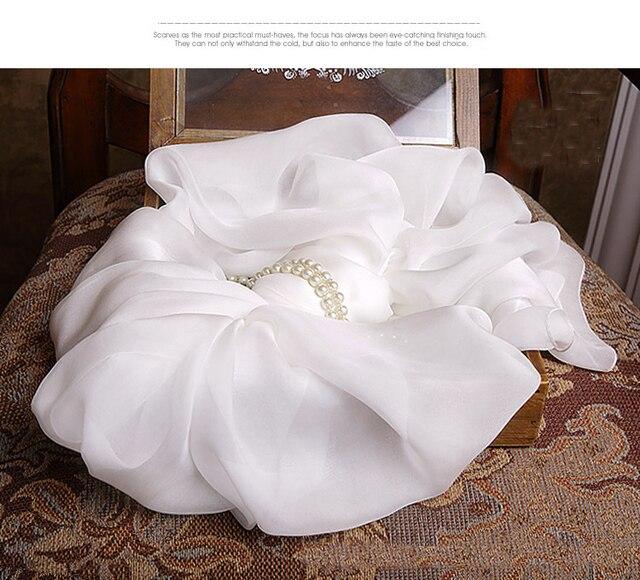 100% Pure Silk women Scarf White Color luxury brand silk scarves