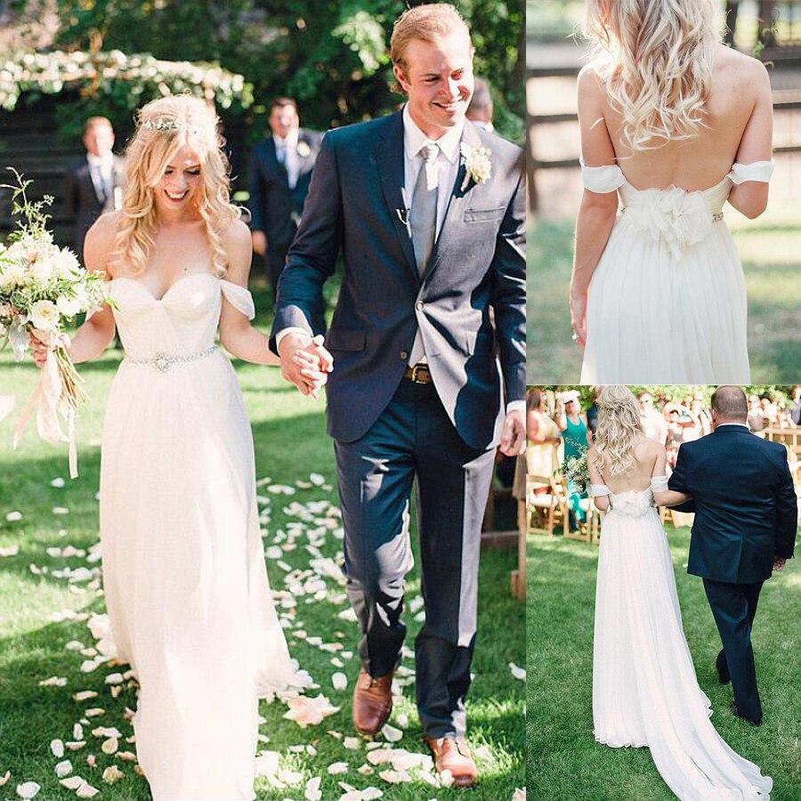 Cowl Neck Silk Sheath Wedding Gowns: Elegant Silk Like Chiffon Off The Shoulder Neckline Sheath