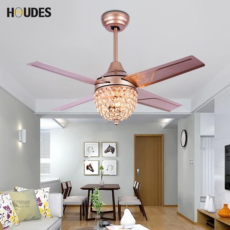 38 Inch Crystal Village Ceiling Fan 220v Simple Lamp
