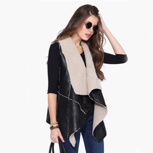 Womens Waistcoat Fake Fur Sleeveless Faux Vest Coat 2017 V-Collar Waistcoat Jacket Warm Feminino Caual Black Outwear Plus Size