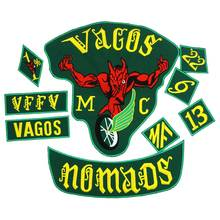 VAGOS NOMADS FULL SETS Embroidered Applique punk biker Patches Clothes Stickers Apparel Accessories Badge 9PCS/SET