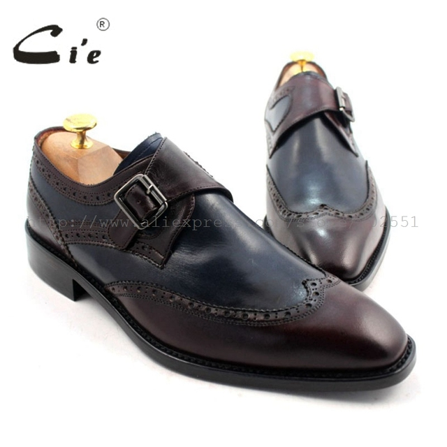 48feda227db99 cie Free Shipping W-tips Bespoke Handmade Pure Genuine Calf Leather Men's  Single Monk Straps Deep Wine/Navy Matching No.MS33