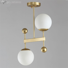 Nordic creative post-modern Glass ball chandelier  double-headed for dining room restaurant living room bedroom lighting decor nordic chandelier creative magic bean personality post modern minimalist living room dining room bedroom milk white ball molecul