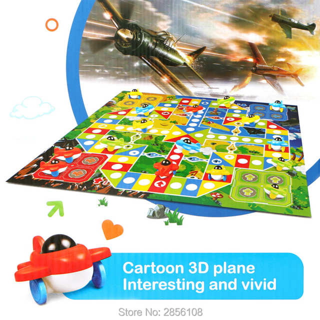US $21 53 18% OFF|16Pcs Cartoon 3D Flying Airplane Board Game Flying Chess  Parent Child Educational Classic Flight Games Toys with play mat-in Play
