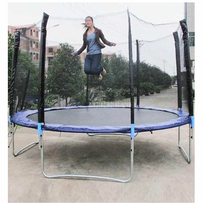 12 Feet High Quality Practical Trampoline With Safe Protective Net Jump Safe Bundle Spring Safety With Ladder Load Weight 500kg