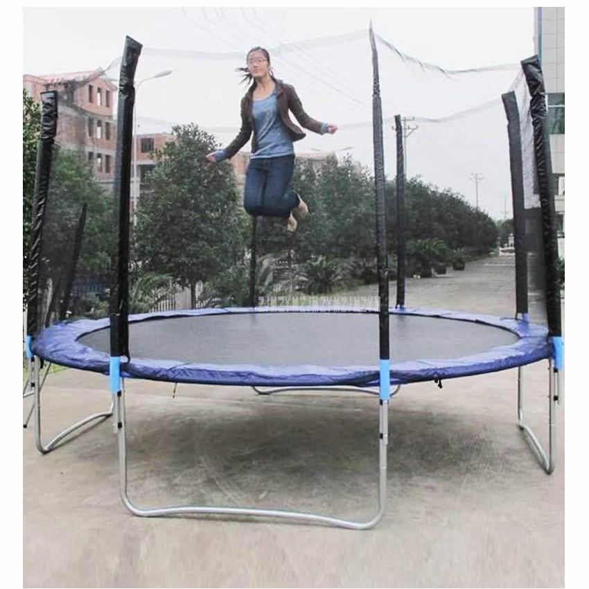 12 stóp wysokiej jakości praktyczna trampolina z bezpieczną siatka ochronna Jump Safe Bundle sprężyna bezpieczeństwa z drabiną waga ładunku 500kg