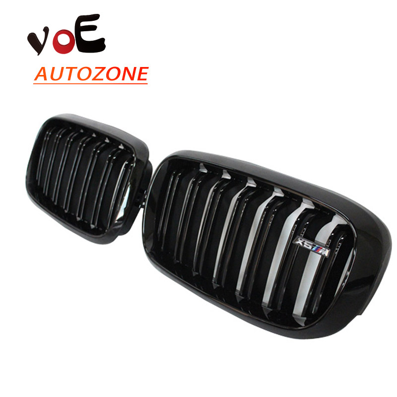 2014 2015 2016 F15 F16 Kidney Shape Gloss Black ABS Plastic M-sport Look Front Racing Grill Grille for BMW F16 X6 BMW F15 X5 x5 x6 m performance sport design m color front grill dual slat kidney custom auto grille fit for bmw 2015 2016 f15 f16 suv