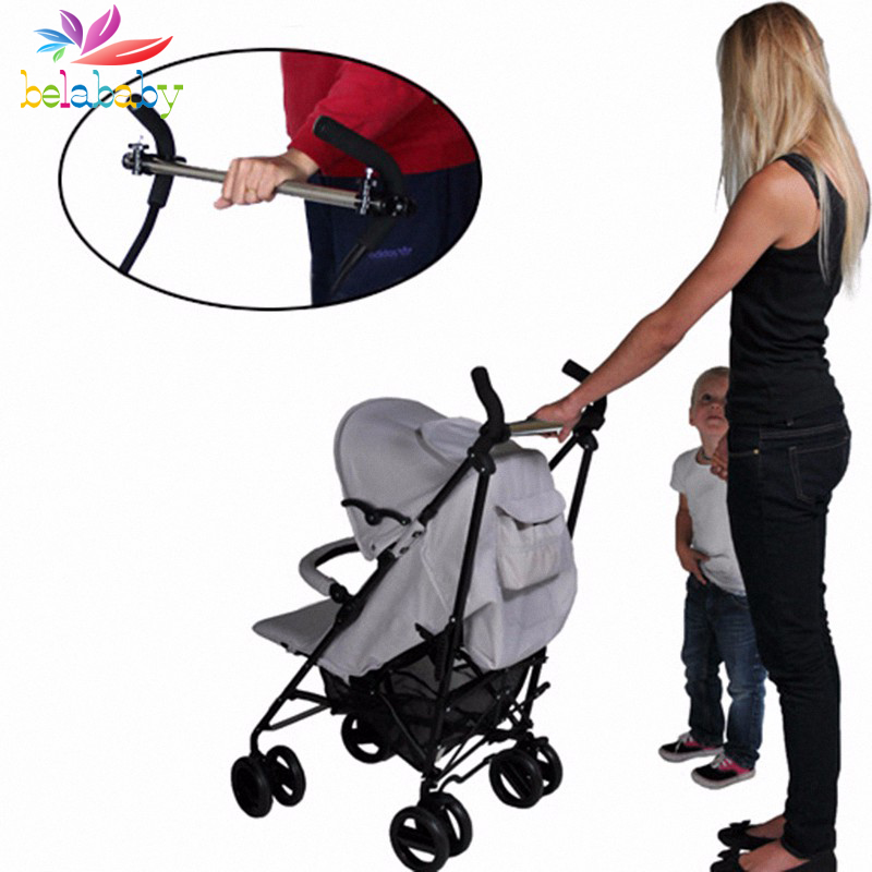 Belababy Stainless Steel Baby Buggy Bar Stroller Auxiliary Rod Adjustable Carriage Bar Universal Prams Baby Armrests