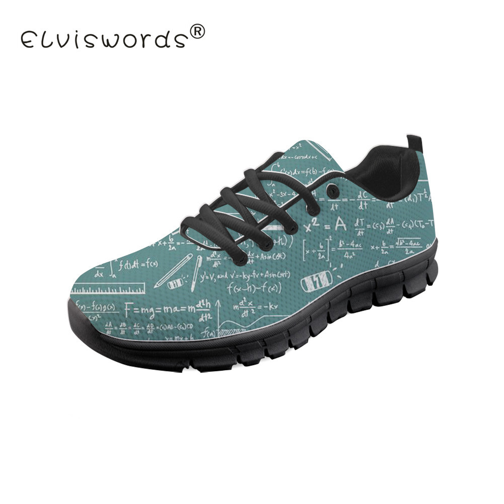 ELVISWORDS School Subject Print Women Flats Shoes Summer Sneaker Black Soles Students Girls Lace-up Shoes Loafers Female Zapatos