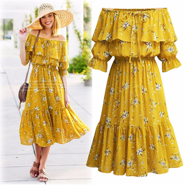 Off shoulder slash neck high waist ruffle dress Chiffon floral print ...