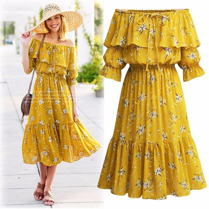 Off shoulder slash neck high waist ruffle dress Chiffon floral print yellow dress Plus Size Dresses For Women 4XL 5XL 6XL