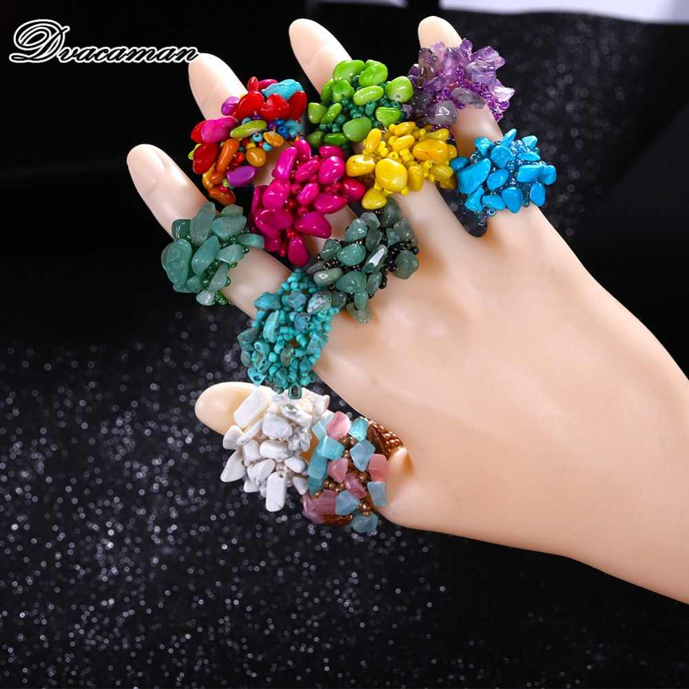 Dvacaman Bohemain Multi-Color Stone Big Rings for Women 2019 Vintage Beads Resin Finger Rings Party Statement Wedding Jewelry