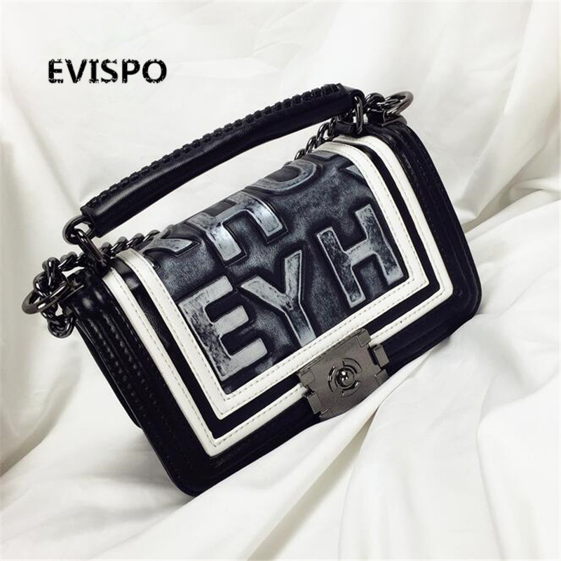 2017 NEW HOT EVISPO Handbag red/ blue/ purple 3-color shoulder bag sac a main femme sac a main femme de marque luxe cuir new evispo handbag red black champagne gray 4 color shoulder bag sac a main femme sac a main femme de marque luxe cuir cc