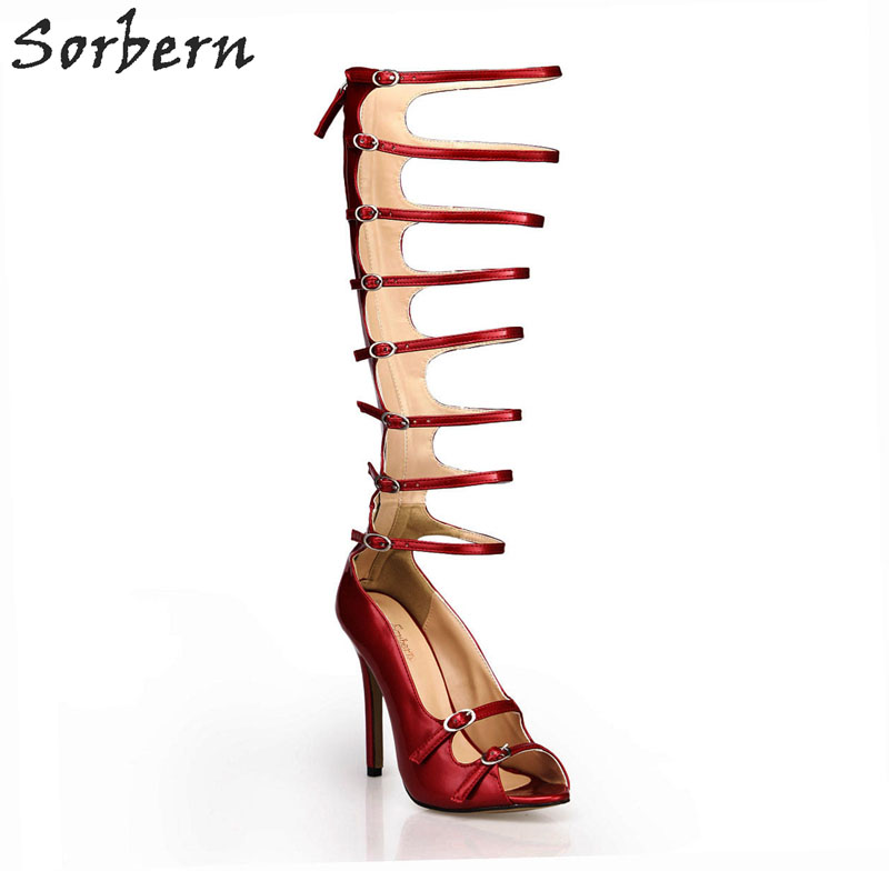 Sorbern Sexy Open Toe Gladiator Style Shoes Women Sandals Fetish Heels Footwear Shoes Summer Party Sandal Zipper High Heels summer women sandals open toe rhinestone lady designer gladiator sandal boots shinny bridal wedding shoes snake style sandals