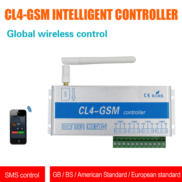 GSM SMS Controller CL4-GSM Wireless Remote Sensor Smart Switch Home Security System On/Off Control US Plug / UK Plug / EU Plug