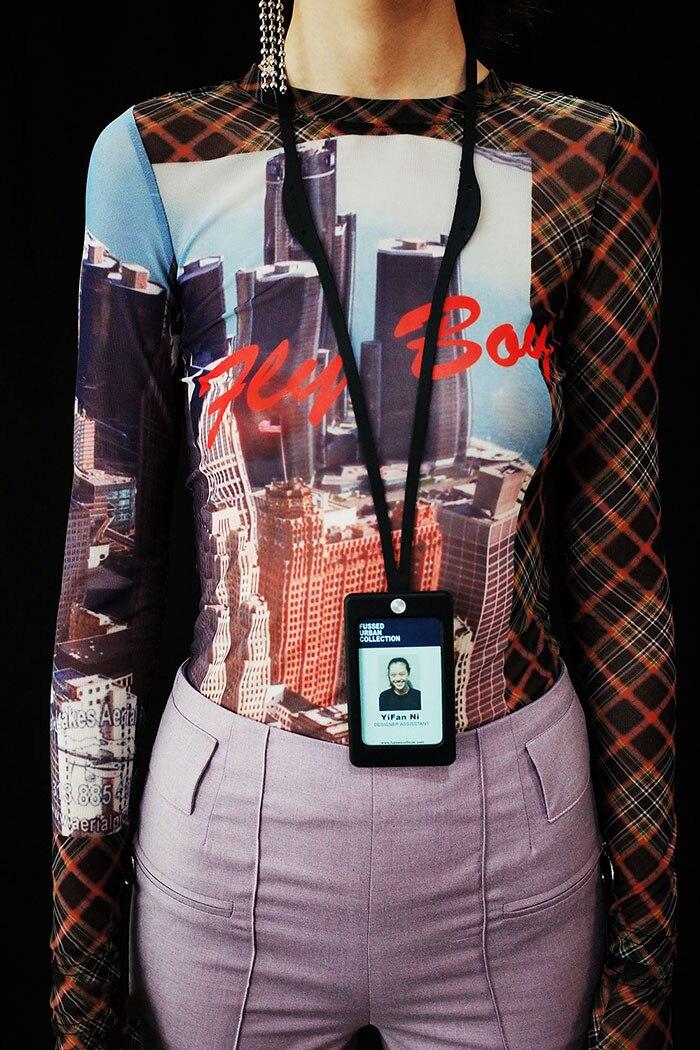 Le Costruzione shirt 2019ss Nuovo Il Equipaggiata Top Tulle Fly Maniche Dita Lunghe A Con Guanti Donna Di Ragazzo Nero Stampa Collezione Urbano T CWORH5q