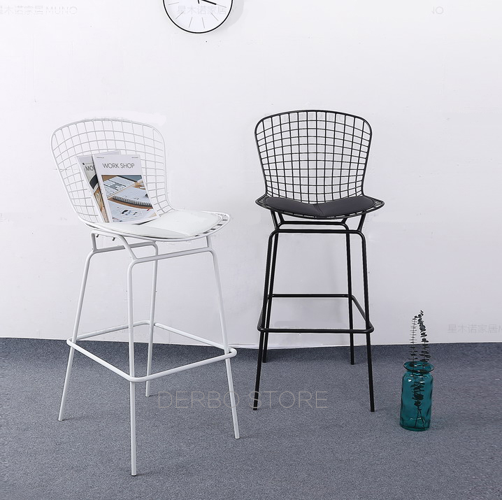 64cm Seat Height Classic modern design Chromed Black White Bertoia wire counter stool Loft Metal steel wire bar Stool chair-2PC