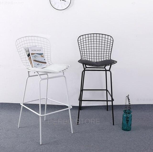 64cm Seat Height Clic Modern Design Chromed Black White Bertoia Wire Counter Stool Loft Metal Steel