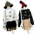 Harajuku knitting sweaters 2017 Korean new winter casual sweaters long-sleeve flower embroidery loose pullover sweater