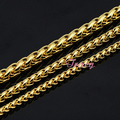 Fashion 4mm 5mm 6mm Mens Womens Boys Yellow Simple Solid  Gold Plated Filled Necklace Braid Wheat Style Chain Free Shipping