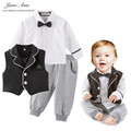 Baby boy clothes set autumn Vest+ white bow tie Shirt+Trousers infant toddler kinder garden party wedding gentlemen Clothes