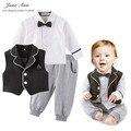 Roupas de bebê menino definir outono Colete + Camisa branca gravata borboleta + Calças infantil criança cavalheiros kinder jardim festa de casamento roupas