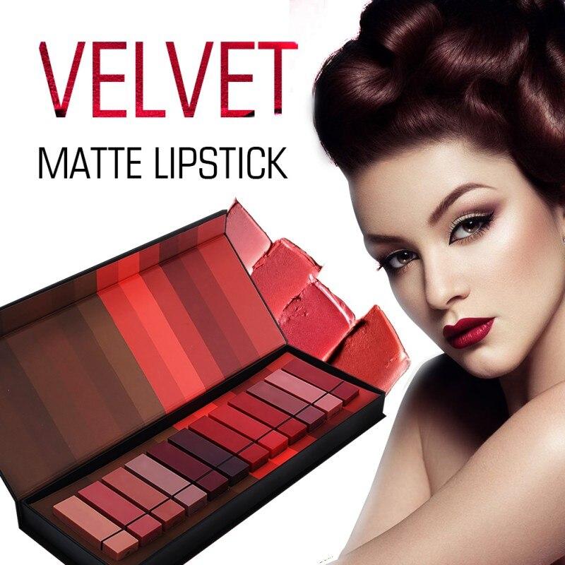 12 teile/satz Matte Lippenstift Samt Anhaltende Feuchtigkeits Kosmetik Lippenstift Roten Lippen Make-Up Lip Gloss Lip Kit Schönheit Lippenstift