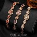 High Quality African CZ Simulated Diamond Setting Gold Plated Luxury Women Zirconia Bracelets Bangles Adjustable Size CB164
