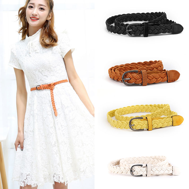 Hot Sale Fashion New Arrival Vintage Twist Belt New Style Candy Colors Hemp Rope Braid Belt Female Belt For Women Summer Dress F0217 New Varieties Are Introduced One After Another Women's Belts