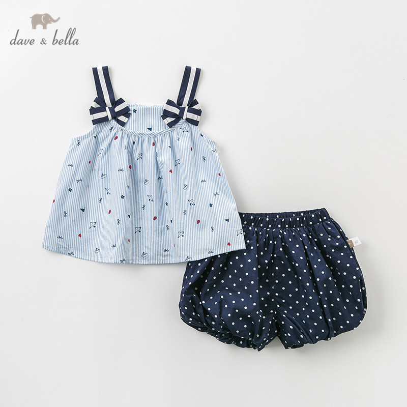 DBM10590 Dave bella summer baby girl clothing sets cute bows children suits infant high quality clothes