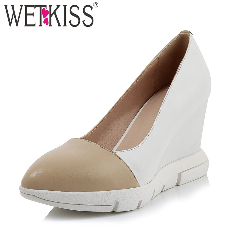 WETKISS Cow Leather Pumps Women Pointed Toe Shallow Footwear Wedges Shoes Female High Heels Platform Shoes Woman Spring 2019 NewWETKISS Cow Leather Pumps Women Pointed Toe Shallow Footwear Wedges Shoes Female High Heels Platform Shoes Woman Spring 2019 New