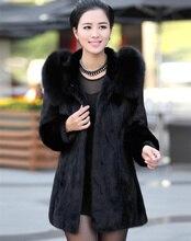 Black X-Long 2015 New Warm Faux Fur Rabbit jacket Coat Winter Overcoat For Women Long design Tops Outerwear Women's Clothing