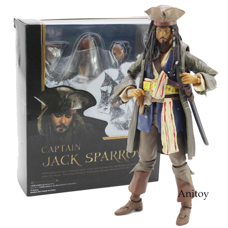 SHFiguarts Pirates of the Caribbean Captain Jack Sparrow PVC Action Figure Collectible Model Toy with Retail Box