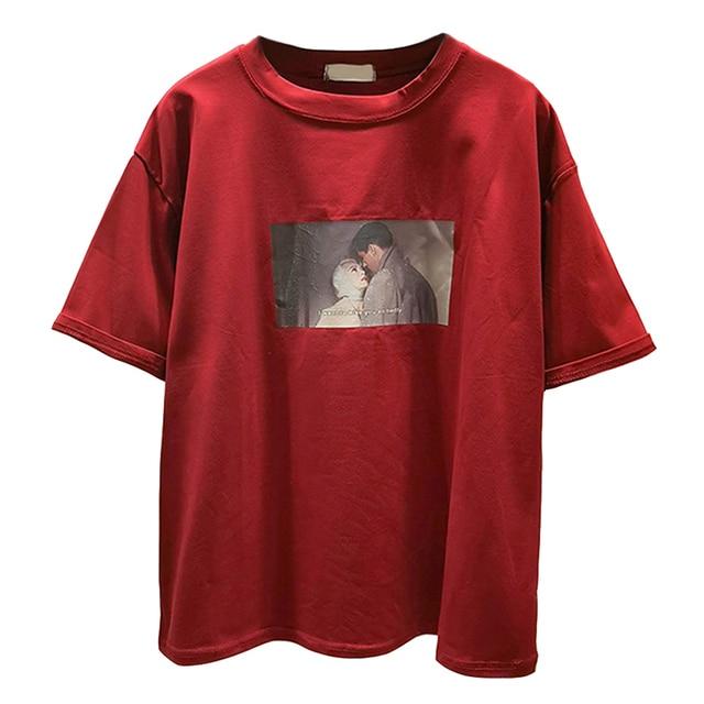 474ce5b4a09276 2019 Fashion Female T Shirt Cotton Women Ulzzang Printed Red Tshirts Summer  Casual Loose Harajuku T