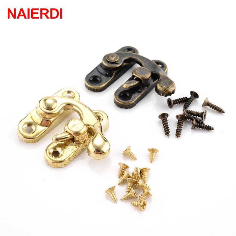 NAIERDI 小さなアンティーク金属ロック装飾ハスプフックギフト木製ジュエリーボックス南京錠ネジ家具ハードウェア