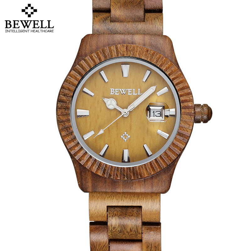 Bewell Auto Date Maple Bamboo Sanders Wood Watches Men Women Fashion Retro Wooden Quartz Couples Lovers