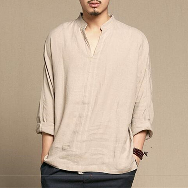 2d4a128a0 2018 Spring Summer Chinese Shirt Men Vintage Style Men s Shirt V-neck Long  Sleeve Thin Linen Shirt Plain Cotton Linen Clothing