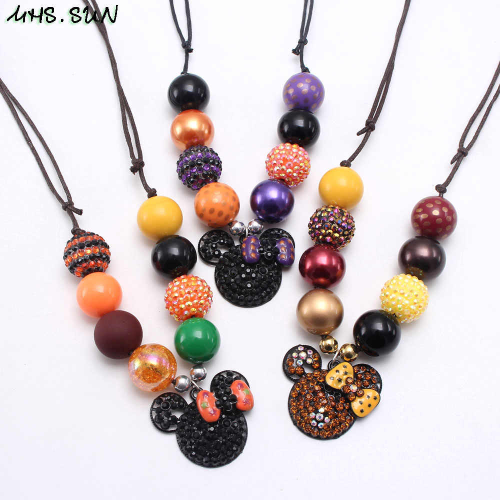 MHS.SUN Fashion Cartoon Pendant Necklace Adjustable Rope Jewelry For Baby Girls Chunky Bubblegum Beads Necklace Jewelry 1PC