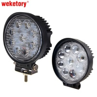 27W 4 Inch LED Work Light Flood Driving Lamp For Car Truck Trailer SUV Offroads Boat