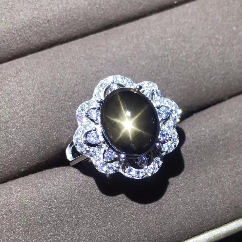 ธรรมชาติ Sapphire แหวน, Star Sapphire, ใบรับรองความถูกต้อง 925 เงินขนาดที่กำหนดเอง, อัญมณี 5 กะรัต-ใน ห่วง จาก อัญมณีและเครื่องประดับ บน   1