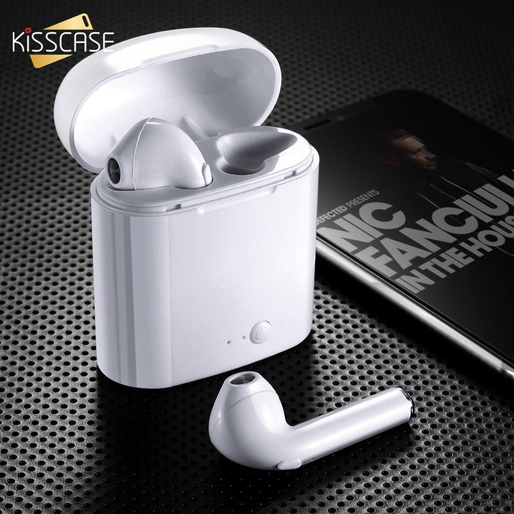 KISSCASE i7s TWS inalámbrica Mini auriculares Bluetooth deporte auriculares con caja de carga de micrófono para teléfono inteligente Bluetooth auriculares