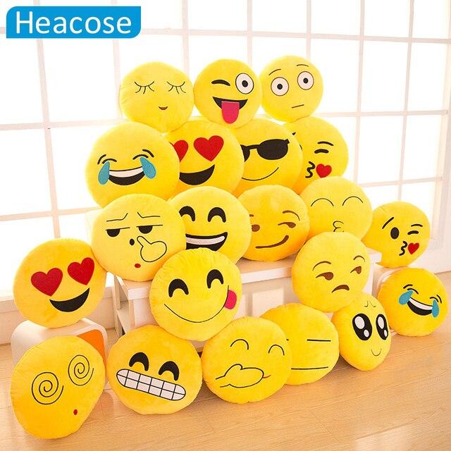 18 Style Emoji pillow Smiley Yellow Round car-styling decorative pillow almofadas Plush coussin cojines emoji smiley face pillow