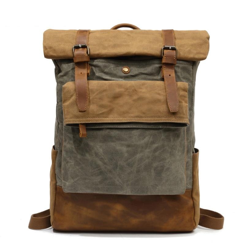 M206 Men Casual Daypacks Vintage Canvas Backpack School Boys Designe Casual Fashion Waterproof Travel Bag Male Back Pack Bagpack