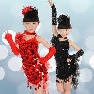 Детский костюм для латинских танцев, Детские бальные платья с блестками для девочек, платье для танго, сальсы, латинских танцев для конкурсо