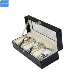 Nowy PU skóra + 6 siatka sloty na prezent luksusowa marka zegarek wyświetlacz Box zegarki Case okno do przechowywania biżuterii uchwyt organizator